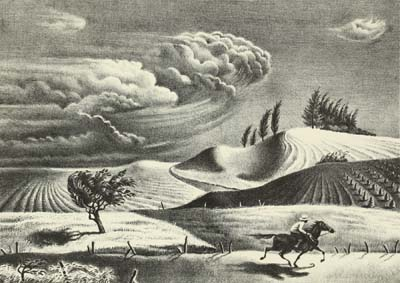 Georges Schreiber, Spring Storm, 1930. Lithograph, 12 1/2 x 15 5/8 inches. Tacoma Art Museum, Carolyn Schneider Collection, Gift of Col. and Mrs. A. H. Hooker, 1970.233.4.