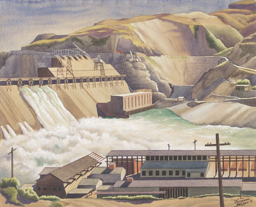 Z. Vanessa Helder, Coulee Dam, Looking West, 1940. Watercolor on paper, 18 x 21 7/8 inches. Northwest Museum of Arts & Culture/Eastern Washington State Historical Society, Spokane, Washington.