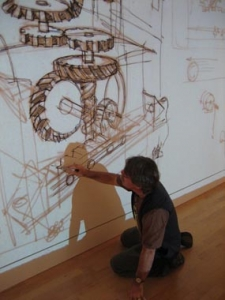 David Macaulay tracing a sketch