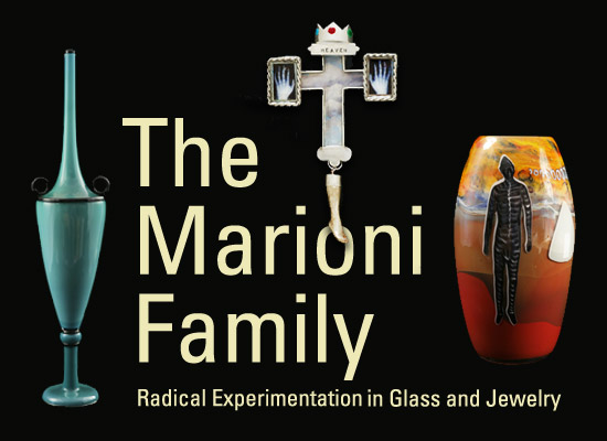 Left to right: Dante Marioni, Needle Vase, 1995. Blown glass, Overall: 30 x 7 inches. Courtesy of the artist. Marina Marioni, Heaven Is There (Suite of ring, earrings, pendant, and brooch), 2006. Sterling silver, clear and colored resin, decals, porcelain, silver leaf. Courtesy of Marina Marioni. Paul Marioni, The Visitor, 1984. Blown glass, Overall: 12 x 6 inches approximately. Courtesy of the artist.