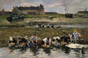 Eugène Louis Boudin, Washerwomen at Trouville, 1885. Oil on panel, 9 x 12 ¾ inches. Tacoma Art Museum, Gift of Mr. and Mrs. W. Hilding Lindberg