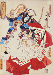 Utagawa Kunisada, Pulling the Elephant [Zohiko], 1852. From the series Eighteen Famous Roles of the Ichikawa Clan. Woodblock print, 14 1/2 x 9 3/4 inches. Tacoma Art Museum, Gift of Mrs. James W. Lyon, 1971.127.8.