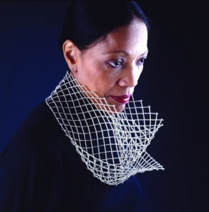 Flora Book, Jayne's Cowl, 1996–99 [formerly titled I Never Promised You a Rose Garden and Abacus].Silver beads and nylon monofilament, 9 inches diameter; 2 1/4 inches height.