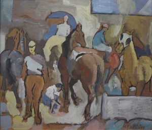 Walter Isaacs, Horses in Paddock, 1945. Oil on board, 27 5/8 x 31 5/8 inches. Tacoma Art Museum, Gift of Safeco Insurance, a member of the Liberty Mutual Group, and Washington Art Consortium.