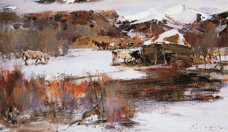 Nicolai Fechin (1881-1955), The First Snow, circa 1930. Oil on canvas,18¼ × 31¼ inches. Tacoma Art Museum, Haub Family Collection, Promised gift of Erivan and Helga Haub.