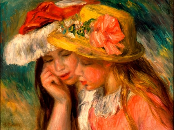 Pierre Auguste Renoir (French, 1841 1919) Heads of Two Young Girls, 1890 Oil on canvas Overall: 12 3/4 x 16 1/4 in. (32.4 x 41.3 cm) Tacoma Art Museum, Gift of Mr. and Mrs. W. Hilding Lindberg, 1983.1.35