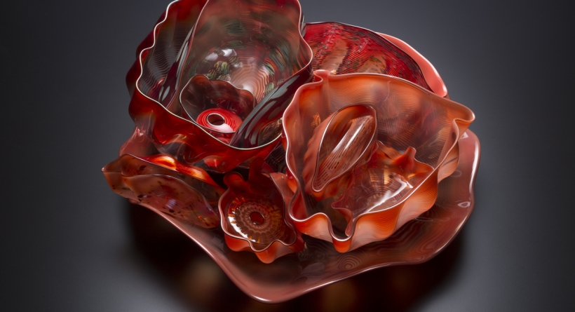Dale Chihuly (American, born 1941), Seaform Set, 1982–83. Blown glass, dimensions variable. Tacoma Art Museum, Promised gift of the Rebecca and Jack Benaroya Collection. Photo © TAM, photo by Russell Johnson and Jeff Curtis.