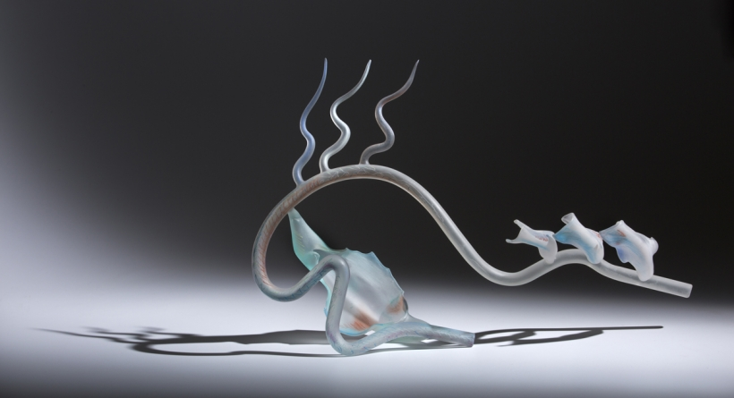 Ginny Ruffner (American, born 1952), Anatomy of the Ear, circa 1986. Lampworked glass with pastel, 16 × 24 × 7 inches. Tacoma Art Museum, Promised gift of the Rebecca and Jack Benaroya Collection. Photo © TAM, photo by Russell Johnson and Jeff Curtis.