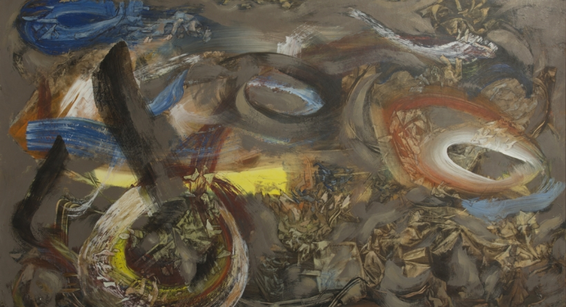 Kenneth Callahan (American, 1905–1986), Untitled, circa 1960s. Oil on canvas, 40 × 59¾ inches. Tacoma Art Museum, Promised gift of the Rebecca and Jack Benaroya Collection. Photo © TAM, photo by Russell Johnson and Jeff Curtis.