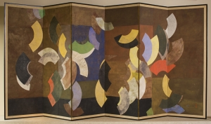 Paul Horiuchi (Japanese American, 1906–1999), Color Movement with Purpose, circa 1985–86. Collage on six panel screen, 71½ × 144 inches. Tacoma Art Museum, Promised gift of the Rebecca and Jack Benaroya Collection. Photo © TAM, photo by Russell Johnson and Jeff Curtis.