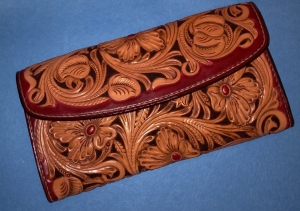 Leather Glasses Holder with hand crafted intricate leaf design.
