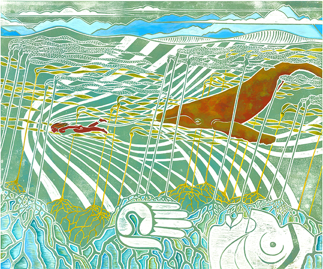 Marika Swan (b. 1982), Nuu-chah-nulth, Tla-o-qui-aht First Nation, Becoming Worthy—State I, 2016. Digital print, 28⅜ × 32½ inches. Courtesy of Stonington Gallery.