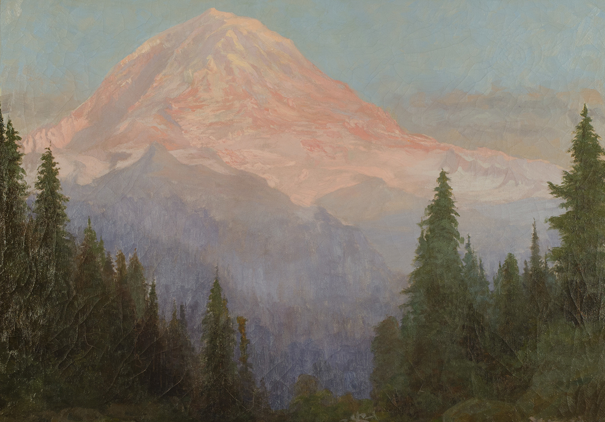 Abby Williams Hill (American, 1861-1943), Mount Rainier from Eunice Lake (detail), 1904. Oil on canvas, 27½ × 34⅝ inches. Collection of University of Puget Sound ©University of Puget Sound.