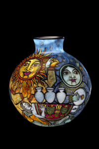Cappy Thompson, I Receive a Great Blessing from the Sun and the Moon: I Will Be an Artist and Walk the Path of Beauty, 1995. Blown glass and fired enamels,17 × 14 1/2 × 14 1/2 in. Tacoma Art Museum, Gift of Anne Gould Hauberg, 2013.12.15. Photo by Doug Yaple.