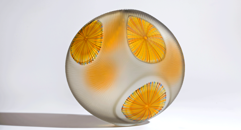 Lino Tagliapietra, Medusa, 2006. Blown glass, 17 3/4 × 18 1/4 × 6 3/4 in. Tacoma Art Museum, Promised gift of the Rebecca and Jack Benaroya Collection. Photo by Russell Johnson.