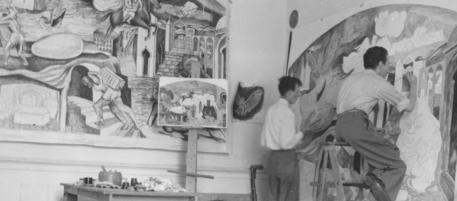 Artists Louis Bunce and Clifford Gleason painting an Alice in Wonderland mural for Bush Elementary School in Salem, Oregon.