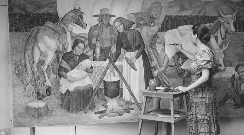 Martina Gangle in the Oregon Art Project studio in downtown Portland, working on one panel of the mural Early Oregon History for the Senior High School in Pendleton, Oregon, 1939-40.