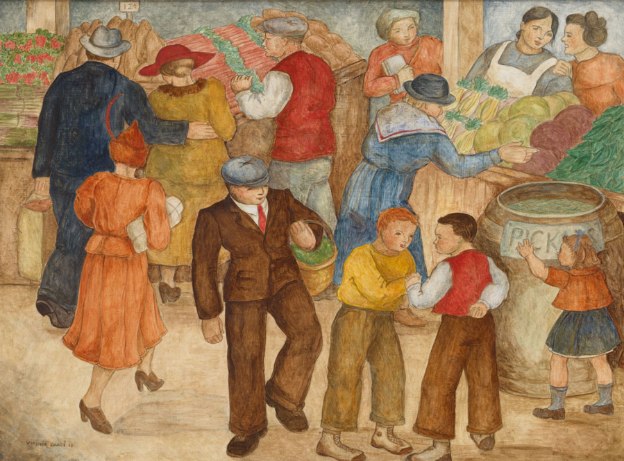Artwork by Virginia Darcé that depicts a crowded market scene with adults purchasing goods and children playing in the foreground.