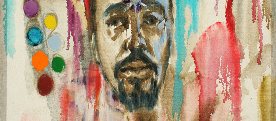 Colorful self portrait of the artist Milt Simons