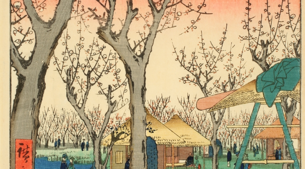 Japanese woodblock print depicting a forest of trees without leaves.
