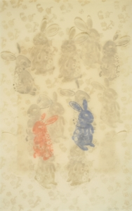 Light background with shadows of rabbits and flowers. One red and one blue rabbit in lower half, some rabbits in top section with textured ears.