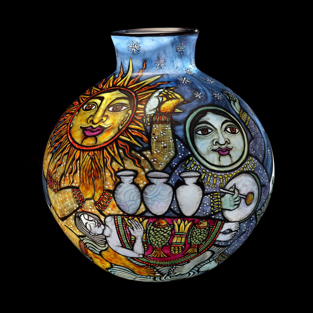 Blown glass vase with reverse painted enamels with figures representing the sun and the moon.