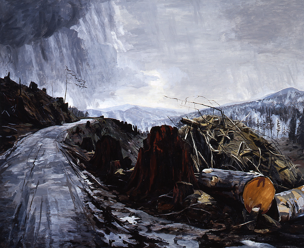 Painting of a winter scene in the mountains. Scene of a dirt (logging) road extending through a clearcut wooded area.