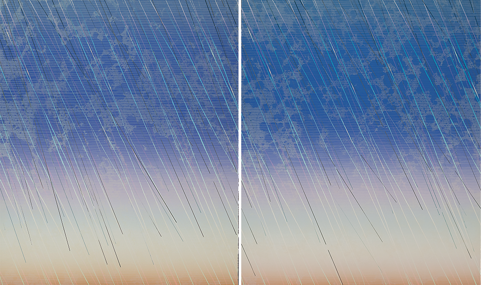 Diptych of two large prints with some on-surface painting. Mottled blue color transforming to pink, blue, yellow, orange underneath a series of diagonal lines in white, lavender, blue, yellow, and orange which indicate rain.