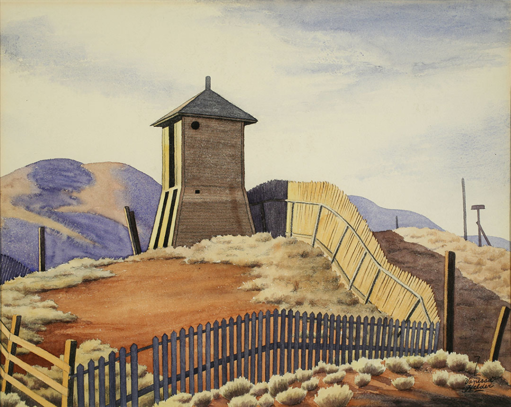 Watercolor of a water tower on rolling hills in eastern Washington. A fence runs across the front of the picture and up the hill past the water tower. The ground is fairly bare except for patches of sagebrush and dry grass.