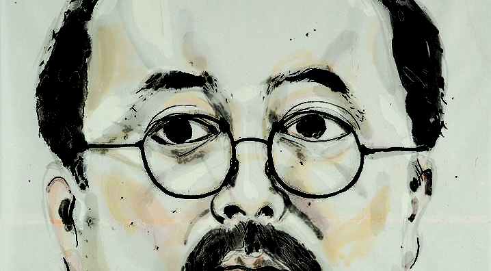 Large-scale portrait, head and neck only. Subject is artist, black hair, glasses, mustache