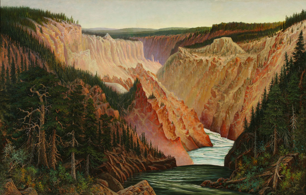 View up the canyon of the Yellowstone River. The river runs from the top center to bottom center of the picture. The steep eroded sides of the canyon frame the river on either side in pink, yellow, and white. On either side of the river in the foreground are patches of forest.