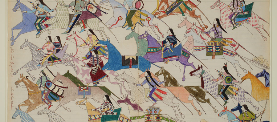A ledger-style image of a group of Native Americans on horseback riding from right to left across the image. The image is stylized so the figures are flattened.