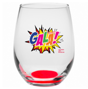 Stemless wine glass featuring the TAM 2020 Gala comic book inspired logo.