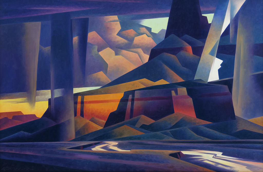 Stylized image of a thunderstorm in the desert. All elements of the picture are somewhat cubist and broken into planes.