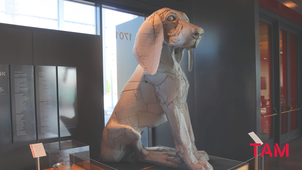 Large sculpture of Leroy, the Big Pup, installed in the lobby of Tacoma Art Museum