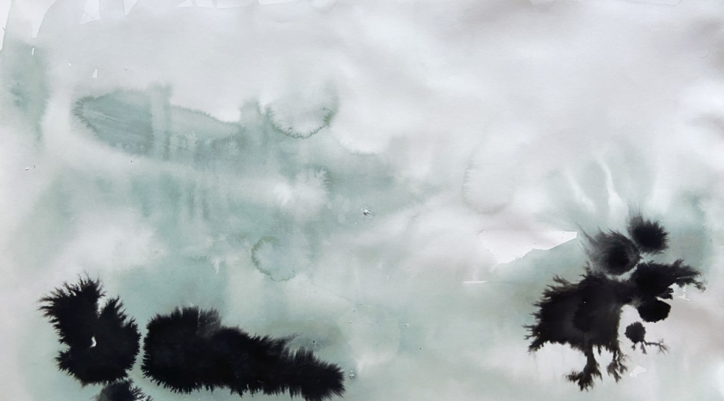 Abstract painting resembling a cloudy waterscape
