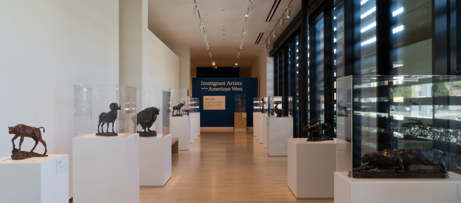 Long corridor shaped gallery with wooden floors and white walls. Pedestals punctuate the sides of the gallery holding bronze sculptures. A blue wall at the end of the gallery reads Immigrant Artists and the American West.