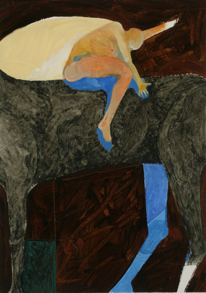 Painting of a humanoid figure seated on top of a horse