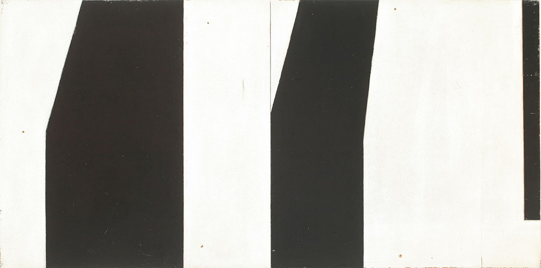 Painting of an array of abstract shapes painted in black and white