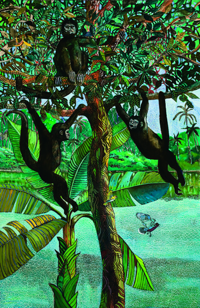 A painted jungle scene depicting a river, three monkeys, and a bird