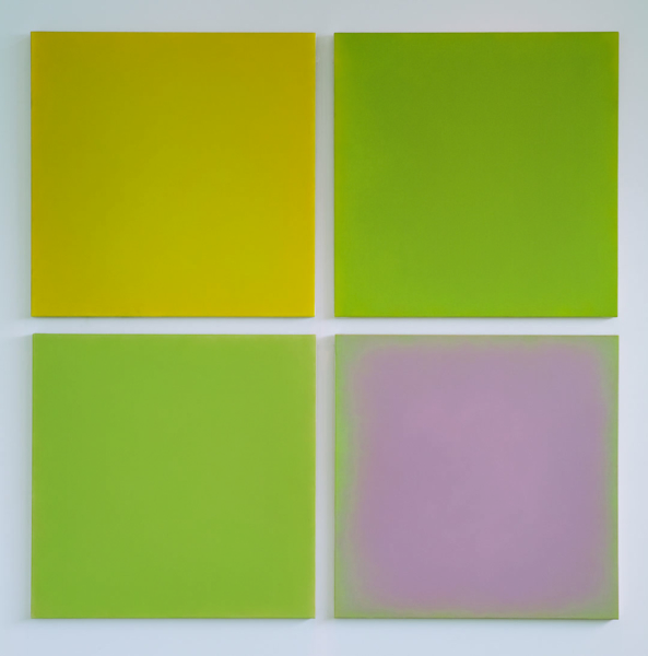 Series of four painted canvases in different shades of green