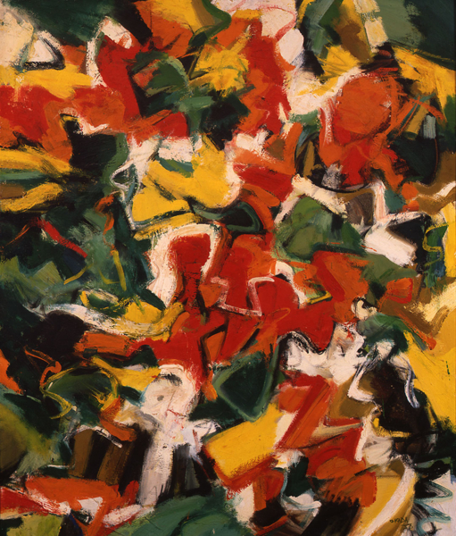 Irregular, abstracted shapes in shades of yellow, cream, red, orange, gold, black, and green mixing together and arranged irregularly and asymmetrically