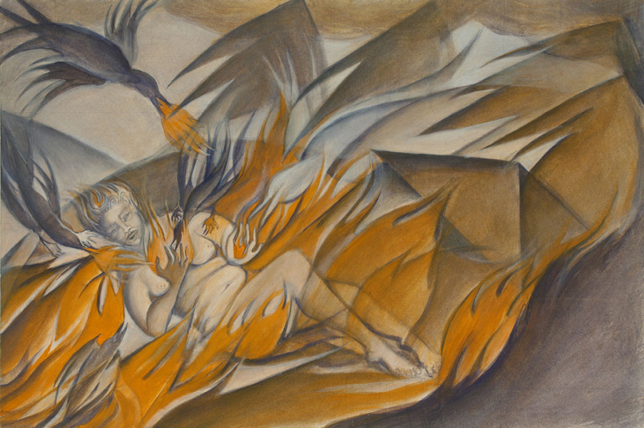 Nude figure lying in flames and circled by three dark bird-like figures breathing flame