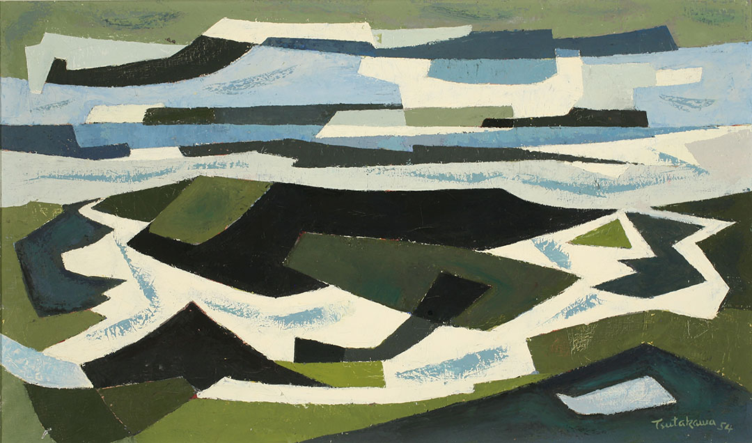 Abstract seascape/beach scene in geometric patterns of green, blue, white and black.