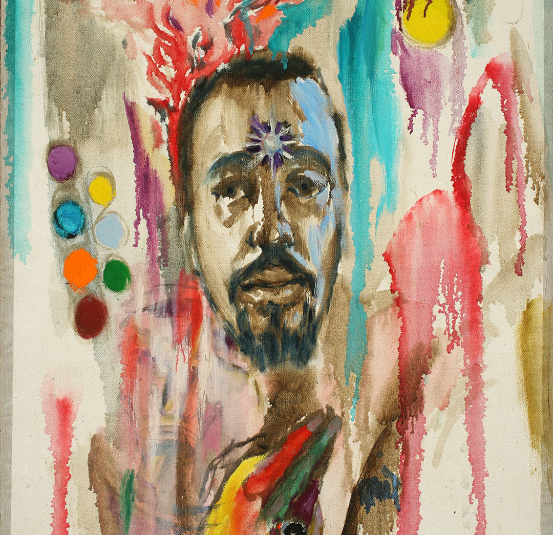 Medium-dark skinned face framed by multicolor streaks of paint, shapes, and abstract figures