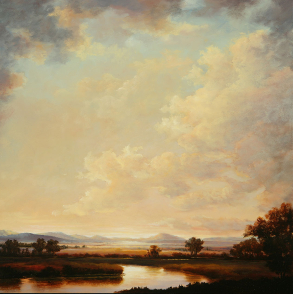 Wide view landscape scene depicting a river in the sunrise