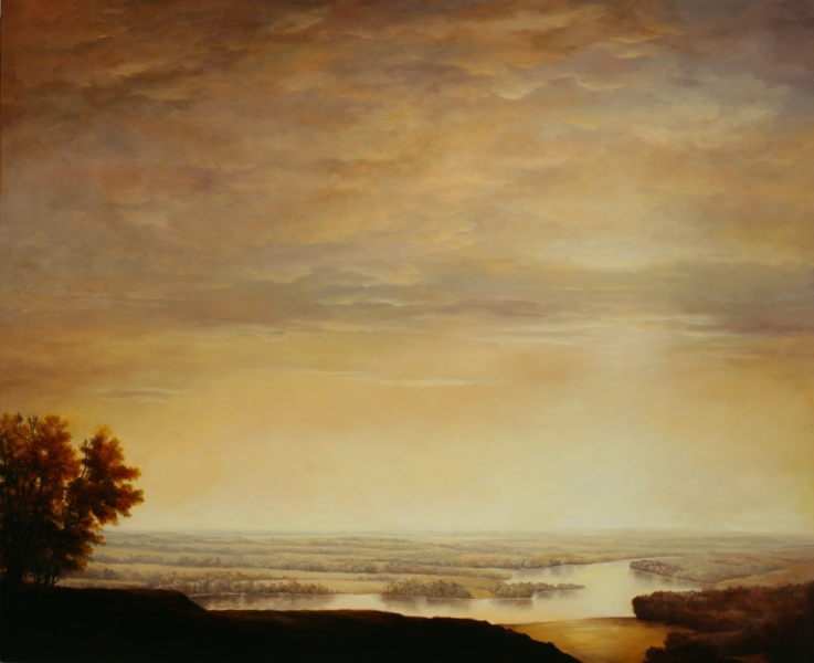 Landscape painting of a winding river cutting through a flat plain