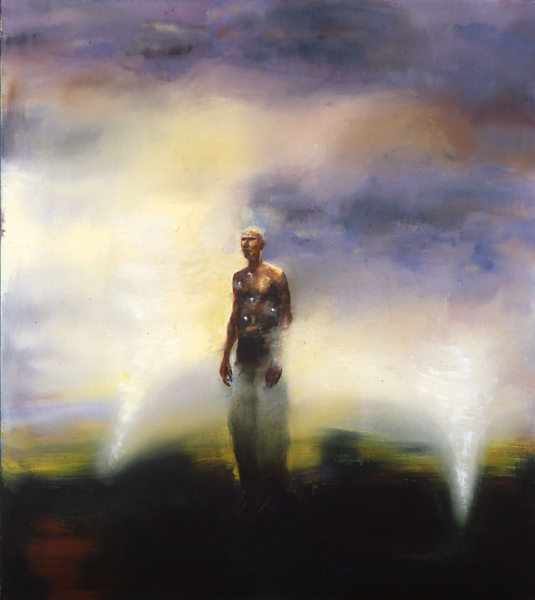 Painting of a figure standing against a blended multicolor background and framed on either side by forms that suggest shafts of light