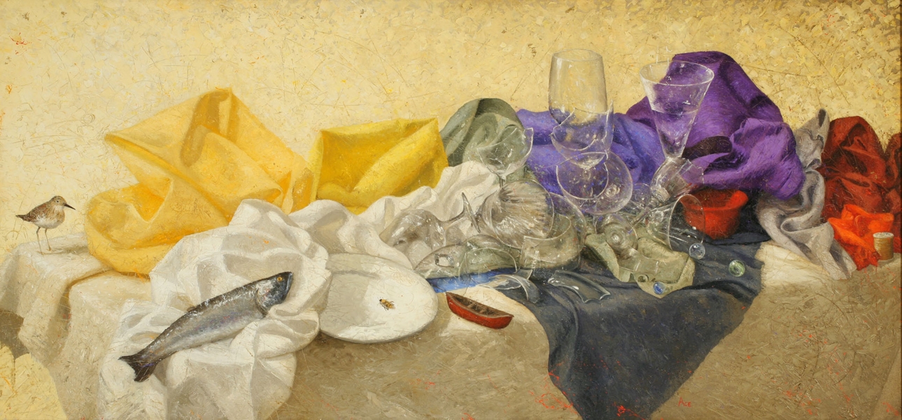 Painting of broken dishware, crumpled piles of fabric in multiple colors, and animals arranged in piles on a table