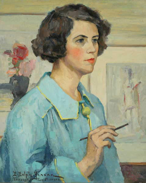 Painting of a person in a blue and yellow smock holding a paintbrush